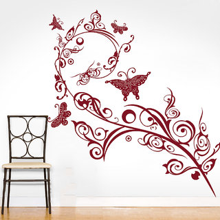Decor Kafe Butterfly Swirl Branch Wall Sticker (29x32 Inch)