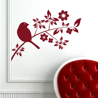 Decor Kafe Sparrow On A Branch Wall Decal 27x19 Inch)