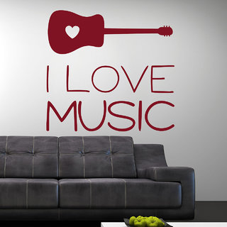 Decor Kafe I Love Music Wall Sticker (21x20 Inch)
