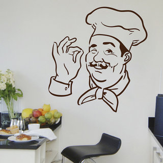 Decor Kafe Chef Print Wall Sticker (19x20 Inch)
