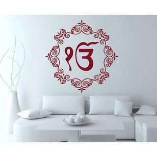Decor Kafe Ek Onkar With Motifs Wall Sticker 23x23 Inch)