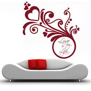 Decor Kafe Love Is My Life Wall Sticker 34x34 Inch)