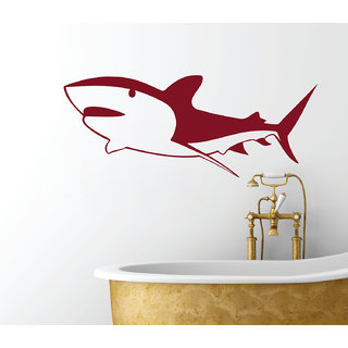 Decor Kafe Shark Wall Sticker (41x16 Inch)