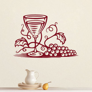 Decor Kafe Wine Glass Wall Decal 47x31 Inch)