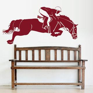Decor Kafe Horse Rider Wall Decal (28x13 Inch)
