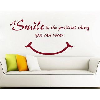 Decor Kafe Smile Is Pretty Wall Sticker (23x10 Inch)