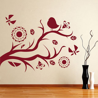 Decor Kafe Branch With A Bird Wall Sticker 23x16 Inch)