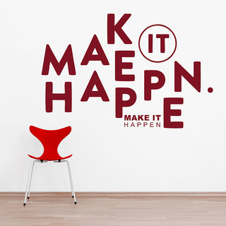 Decor Kafe Make It Happen Quote Wall Decal 47x31 Inch)