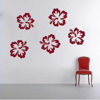 Decor Kafe Hibiscus Flowers Wall Decal 30x20 Inch)