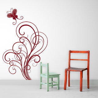 Decor Kafe Butterfly Swirls Wall Sticker (15x24 Inch)