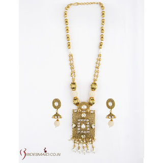 Bridesmaid High Gold Long Necklace set Embossed With Pearl