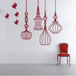 Decor Kafe Birds And Lantern Wall Sticker 40x31 Inch)