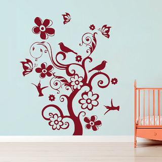 Decor Kafe Bird Tree Wall Sticker (36x44 Inch)