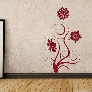 Decor Kafe Black Flower Floral Wall Sticker (14x26 Inch)