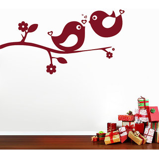 Decor Kafe Love Bird Sparrow Wall Sticker (52x27 Inch)