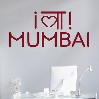 Decor Kafe Mumbai Quote Wall Sticker 39x17 Inch)