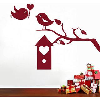 Decor Kafe Birds Heart Box Wall Sticker (33x24 Inch)