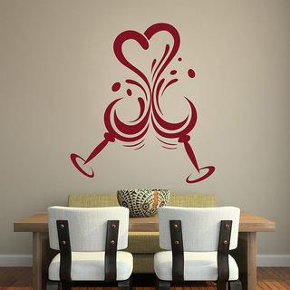Decor Kafe Wine Glass Wall Sticker 19x21 Inch)