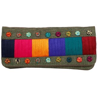 Ethnic Multicolor Work Clutch Purse