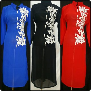 georgette kurtis with inner 3 colour -size 42 extended to46