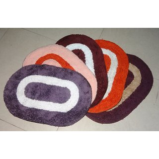 Arka Multicolour Handwoven Cotton Set of Door/Bedroom/Bathroom Mats (5 Psc Set)
