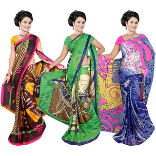 Fancy Weightless Georgette Printed Sarees With Blouse   Exclusive  combo-228