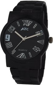 Atc Round Dial Black Metal Strap Quartz Watch For Men