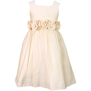Golden Sunday Dress With Multiple Rosette