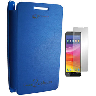 Vimi Flip Cover For Micromax Canvas 2 Colours A120 Blue-With Screen Guard