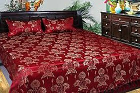 Royal Maroon Jaquard DoubleBed Sheet With 2 Pillow Covers - Assorted Designs
