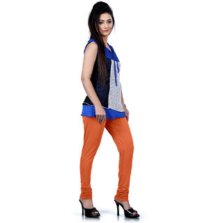 DesiButiks Orange Coloured Cotton Lycra Leggings BBL1019