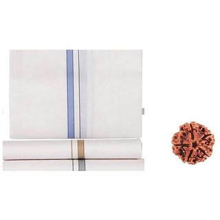 MAHNA WHITE 100 COTTON HANDKERCHIEFS-PACK OF 12WITH FREE FIVE MUKHI RUDRAKSHA