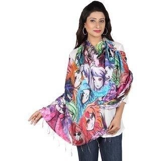 Digital Print Hey Girls Cotton Chanderi Multi-Color Stole for Women