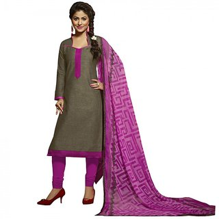 Gerbera Designer Amazing Cotton Brown and Pink Pinted Salwar Suit