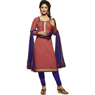Gerbera Designer Amazing Cotton Peach and Blue Designer Salwar Suit