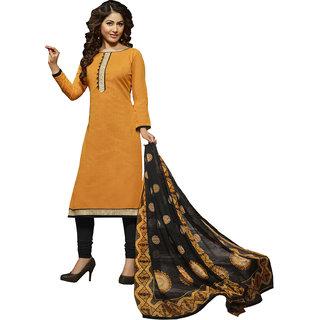 Gerbera Designer Amazing Cotton Yellow and Black Designer Salwar Suit