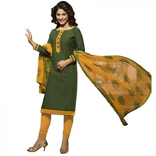 Gerbera Designer Amazing Cotton Green and Yellow Designer Salwar Suit