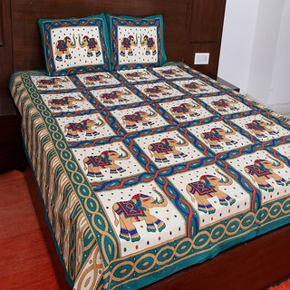 Kanhaa Cotton Double Bedsheet with 2 Pillow Covers King Size Ethnic Blue