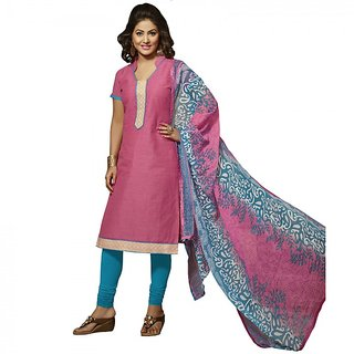 Gerbera Designer Amazing Cotton Pink and Blue Designer Salwar Suit