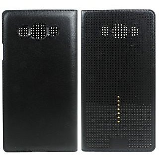 Rk Dot View Touch Filp cover Case For Samsung Galaxy E5 Black