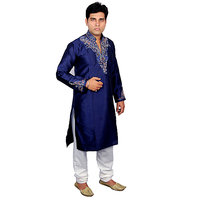 Anjaneya Blue  White Embroidered Long Sherwanis For Men
