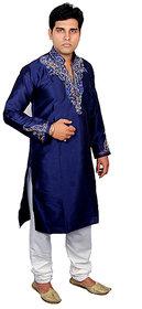 Anjaneya Blue  White Embroidered Long Sherwanis For Men
