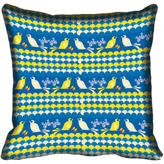 meSleep Blue Birds Digitally Printed Cushion Cover (16x16)