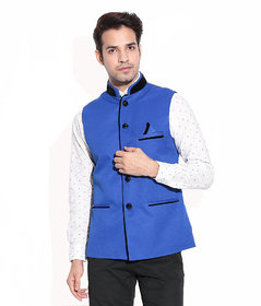 Akaas Mens Blue Nehru Jacket