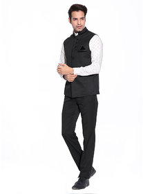 Akaas  Mens Black Nehru Jacket