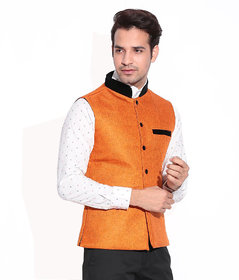 Akaas  Mens Orange  Nehru Jacket