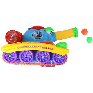 Planet Of Toys Lights  Music Army Tank (Shoots Ball, 360 Degree Wheel Rotation)