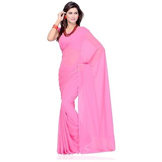 Surupta Facinating Rose Pink Color Plain Chiffon Saree
