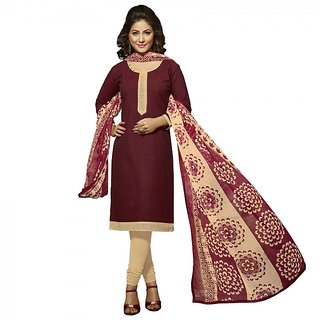 Gerbera Designer Amazing Cotton Marron and Beige Designer Salwar Suit