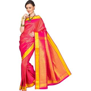 Urvashi Silk Khaki Art Silk Self Design Saree With Blouse